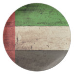 Old Wooden United Arab Emirates Flag Plate