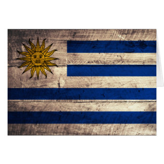 Old Wooden Uruguay Flag Card