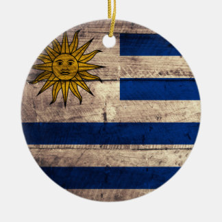 Old Wooden Uruguay Flag Ceramic Ornament