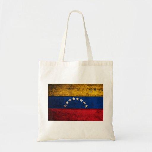 Old Wooden Venezuela Flag Canvas Bags