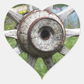 Old wooden wagon wheel heart sticker