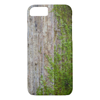 Old wooden wall with green moss iPhone 8/7 case