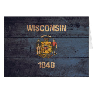 Old Wooden Wisconsin Flag Card
