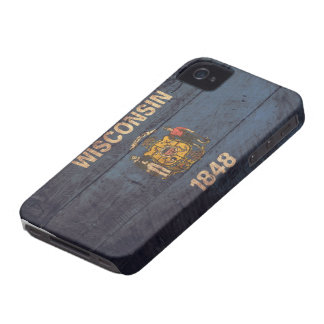 Old Wooden Wisconsin Flag iPhone 4 Case-Mate Case