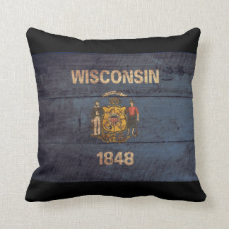 Old Wooden Wisconsin Flag Pillow