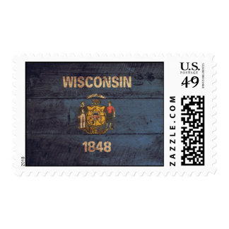 Old Wooden Wisconsin Flag Postage