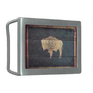 Old Wooden Wyoming Flag Rectangular Belt Buckles