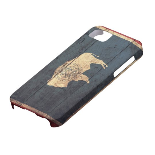 Old Wooden Wyoming Flag iPhone SE/5/5s Case