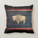 Old Wooden Wyoming Flag Pillow
