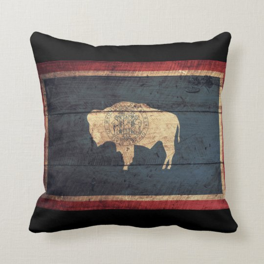 Old Wooden Wyoming Flag Throw Pillow