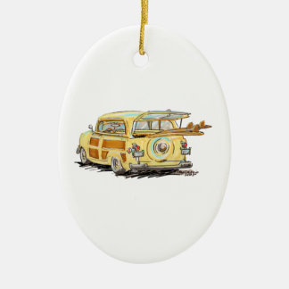 oLd WooDy Double-Sided Oval Ceramic Christmas Ornament