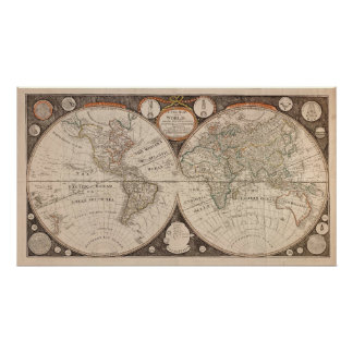 Old World Continent Map poster print