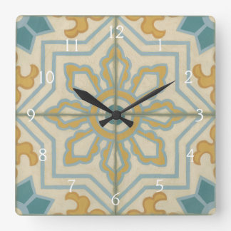 Old World Decorative Tile Pattern Square Wall Clock