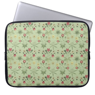 Old World Design Daisies In Mint Green Computer Sleeve