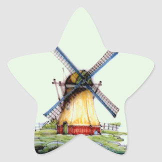 Old World Dutch Windmill Star Sticker