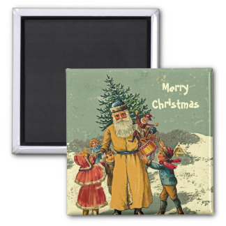 old world father christmas art magnet