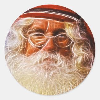 Old World Father Christmas Santa Claus Portrait Classic Round Sticker
