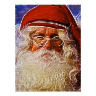 Old World Father Christmas Santa Claus Portrait Print