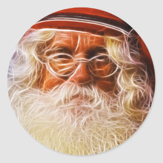 Old World Father Christmas Santa Claus Portrait Round Stickers