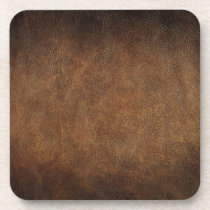 Old World Faux Leather Beverage Coaster