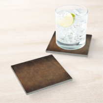 Old World Faux Leather Glass Coaster