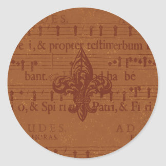 Old World Fleur de Lis Round Sticker