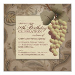 Old World Grapes Wine Themed Birthday Party Invitation