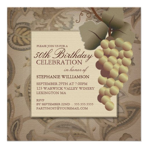 Old World Grapes Wine Themed Birthday Party Invite