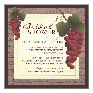 Old World Grapevine Wine Bridal Shower Invitation