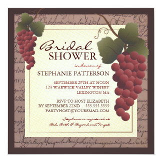 """Old World Grapevine Wine Bridal Shower Invitation 5.25"""" Square Invitation Card"""