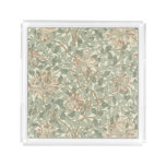 Old World Green Floral Modern Home Decor Acrylic Tray