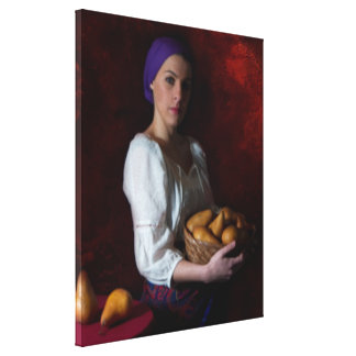 Old World Image  -Woman and Pears Canvas Print