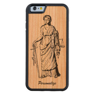 """Old World """"Lady Justice"""" Retro or Vintage Drawing Carved Cherry iPhone 6 Bumper Case"""