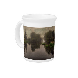 Old World Landscape Fine Art Painting Beverage Pitcher