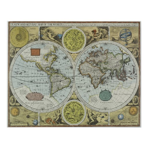 Old World Map 1626 Antique Travel Poster Zazzle