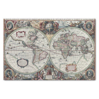 """Old World Map 1630 10"""" X 15"""" Tissue Paper"""