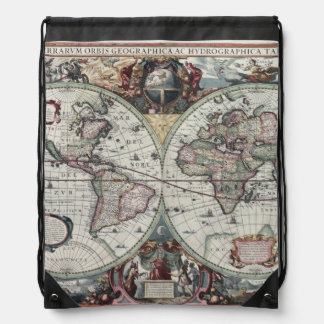 Old World Map 1630 Cinch Bags