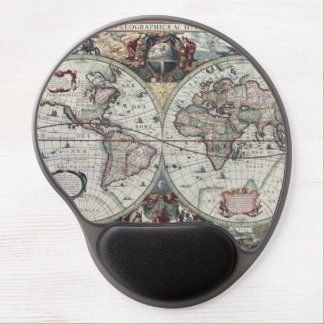 Old World Map 1630 Gel Mouse Pad