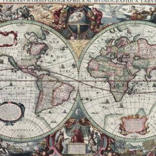 Vintage world map lapel pins zazzle old world map 1630 gold finish lapel pin gumiabroncs Choice Image
