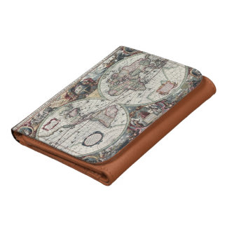 Old World Map 1630 Leather Tri-fold Wallet