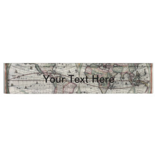 Old World Map 1630 Name Plates