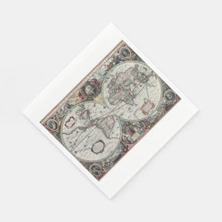 Old World Map 1630 Paper Napkin