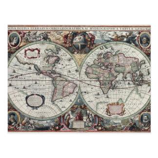 Old World Map 1630 Postcard