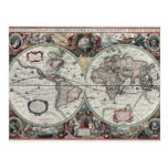 Old World Map 1630 Postcards