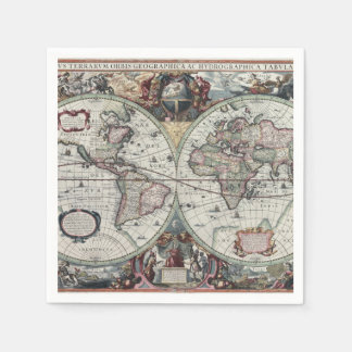 Old World Map 1630 Paper Napkins