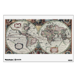 Old World Map 1630 Wall Sticker