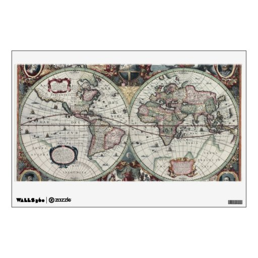 Old World Map 1630 Room Decal