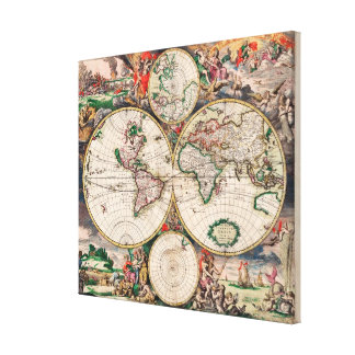 Old World Map 1689 Vintage wrapped canvas