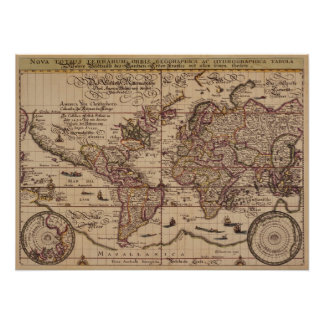 """""""Old World Map 16th Century Replica Poster"""