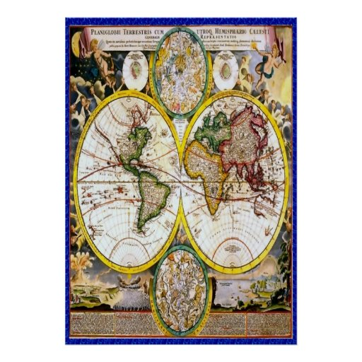 Old world map 2 poster Zazzle